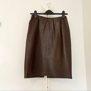 DANIER Brown Leather Pencil Skirt -Size 6